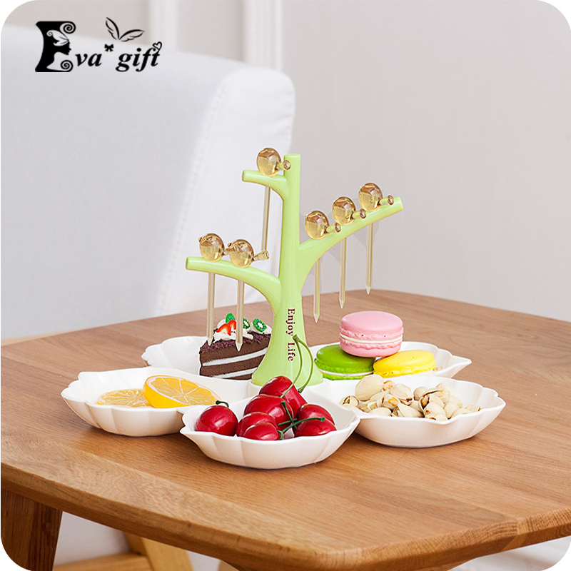 Three colors creative snack organizer storage box cuckoo fork unique styling can storage friut cake beautiful