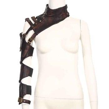 Corzzet Coklat PU Kulit Keling Lengan Melengkung Armor Hangat Korset & Bustiers Steampunk Gothic Aksesoris untuk Cosplay Halloween