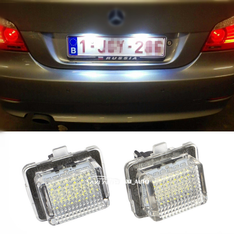 Error Free Car LED License Plate Lights 3528 SMD 6000K Number Plate Light For Mercedes Benz W204 5D W212 W216 W221 W207 for mercedes benz slk r171 2004 2011 led car license plate light number frame lamp high quality led lights