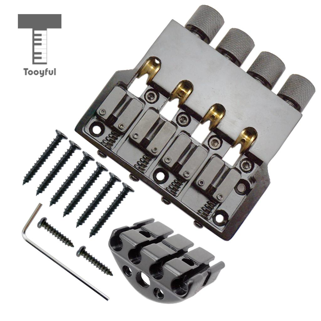 Tooyful Black Bass Replacement Bridge with Nut Wrench Screws Set for Headless Electric Bass Accessory Musical