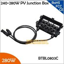 2 шт./лот 240-280 Вт распределительная коробка питания от солнечной панели 10A диоды для подавления переходных скачков напряжения, с 5 диоды для подавления переходных скачков напряжения(10A), MC4 разъем, 90 см кабель, IP65 Водонепроницаемый, 280 W PV распределительная коробка