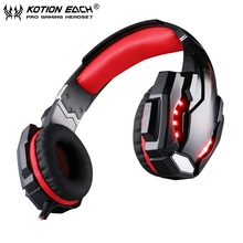 EACH G9000 red 3.5mm Gaming Headphone Stereo Bass Headset Headband with Mic LED Light for Computer/PS4 without retail package