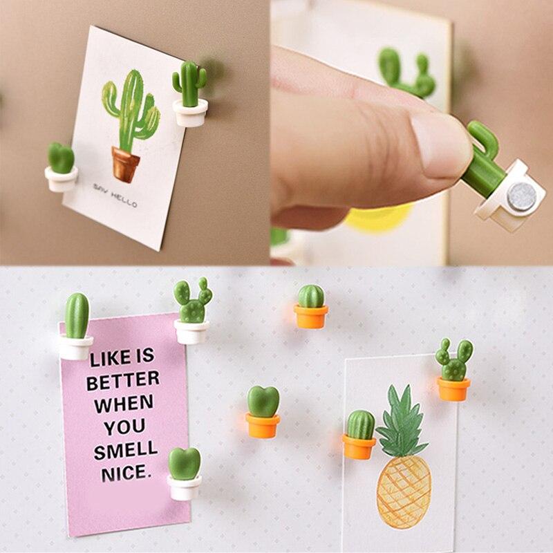 6PCs//Set Mini Fridge Magnets Cute Cactus Refrigerator Magnet