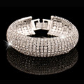 Luxury Brand Design Glitter Full Rhinestone Bracelet Top Fashion Wide Bangles Women Simple Style CZ Diamond Pulsera