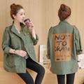 Осень и зима женская патч печати армия зеленый пальто Досуг свободные мода женский большой размер forwomen