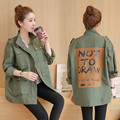 Autumn & winter women's  patch printing army green coat Leisure loose fashion female  big  size  forwomen