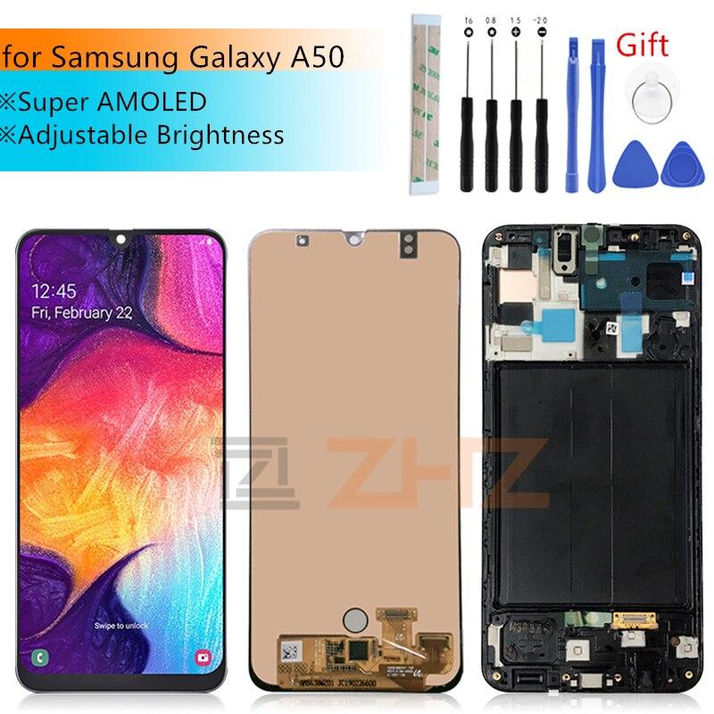 Super AMOLED pour Samsung Galaxy A50 lcd 2019 A505F/DS A505F A505FD A505A assemblée de numériseur d'écran tactile avec des pièces de réparation de cadre