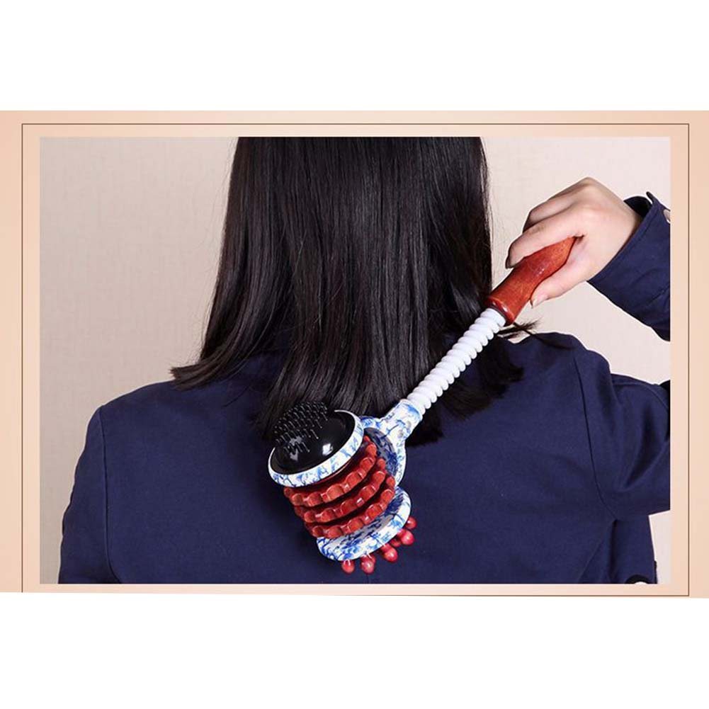 Good Healthy Body Hammer Manual Roller Massager Wood Handle Relax Massage Tool for Neck Arm Shoulder Back Leg