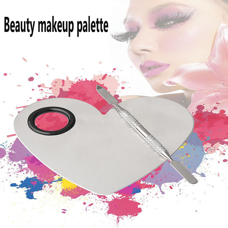 Makeup Artist Special Painted Makeup Palette Beauty Makeup Nail Sticker Stainless Steel Palette With Color Bar