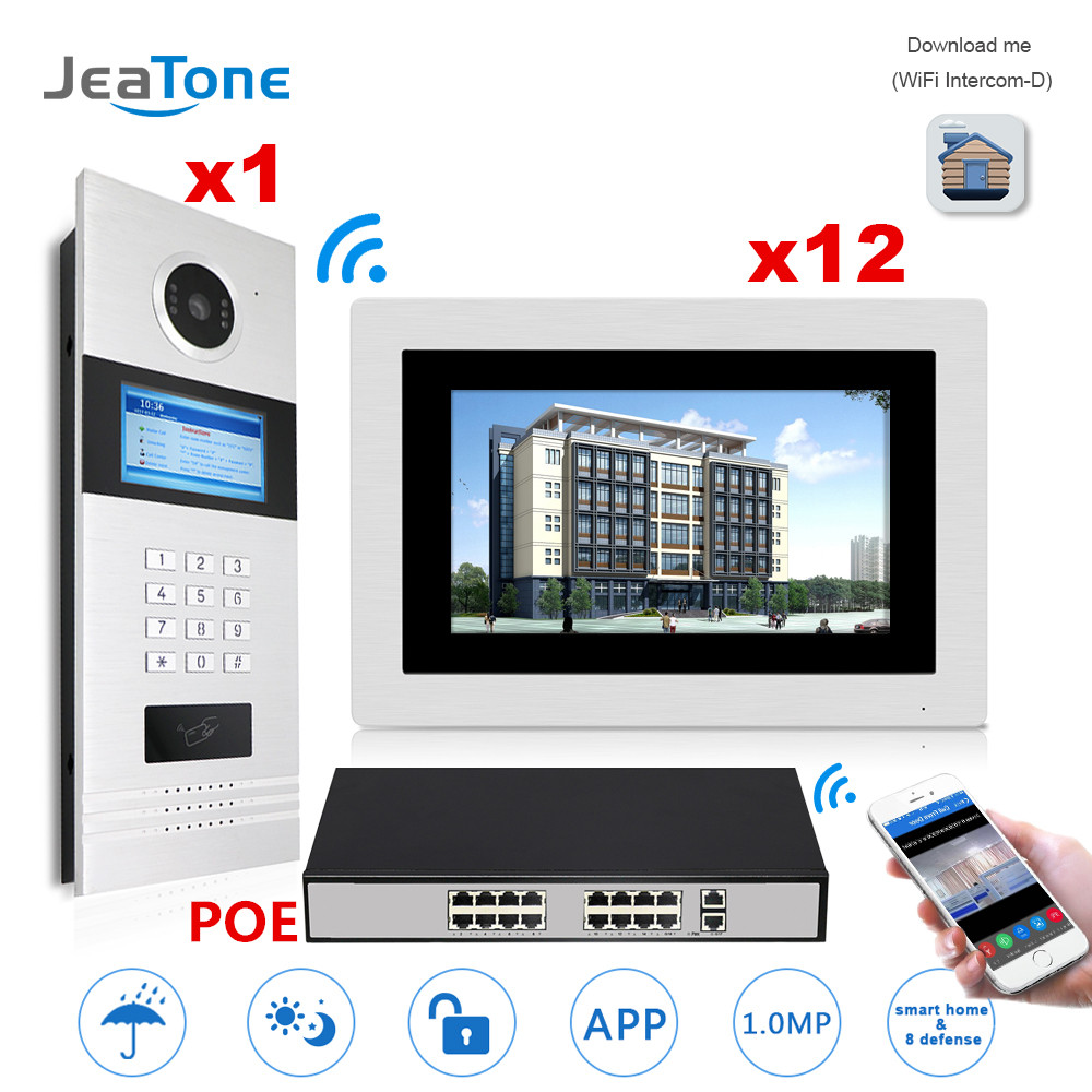 7'' Touch Screen WIFI IP Video Door Phone Intercom +POE Switch 12 Floors Building Access Control System Support Password/IC Card 7 inch password id card video door phone home access control system wired video intercome door bell