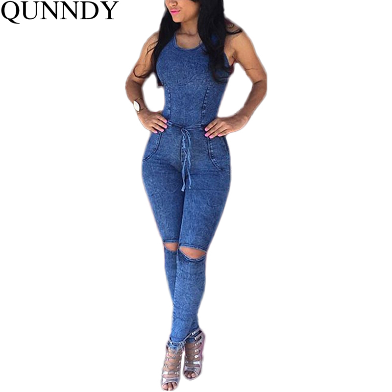 3b797baf460 Macacao Rompers Women Jumpsuit 2016 New Fashion Denim Overalls Sleeveless  Playsuit Sexy Round Neck Bodycon Long Pant Jumpsuits