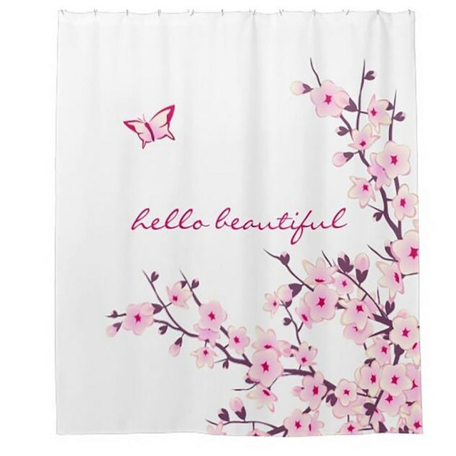Hello Beautiful Butterfly Shower Curtains Hooks Bathroom Curtain Waterproof Fabric Polyester Bathing Home Decal Bath Decor
