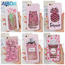 AIBOR glitter liquid quicksand Paris Iron tower baby milk bottle drink cat rose flower flamingo case For Iphone X 6 6S 7 8 plus