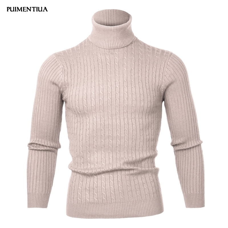 Puimentiua 2019 Men's High Neck Sweater Solid Simple Slim Fit Hedging Turtleneck Knitted Long Sleeves Pullover Top Males