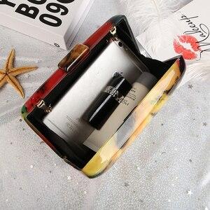 Image 4 - 아크릴 클러치 백 여성 이브닝 백 아크릴 가방 다채로운 인쇄 무작위 패턴 여성 숄더 가방 클러치 지갑 ZD1163