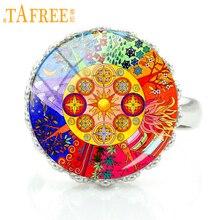 Купить с кэшбэком TAFREE handmade buddhism zen charm Chakra Sacred Geometry mandala rings jewelry women fashion flower art party jewellery CT410