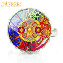 TAFREE handmade buddhism zen charm Chakra Sacred Geometry mandala rings jewelry women fashion flower art party jewellery CT410(China)