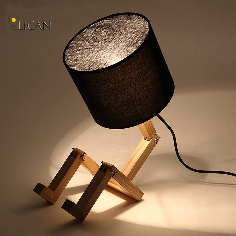 купить modern wood table lamp Vintage Solid Wood Modern Desk Lamp American Study Light Office table lamp adjustable swing arm недорого