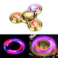 EDC Tri Spinner With LED Light Aluminum Alloy Finger Hand Spinner With Induction Light LED Fidget