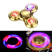 EDC Tri Spinner With LED Light Aluminum Alloy Finger Hand Spinner With Induction Light LED Fidget