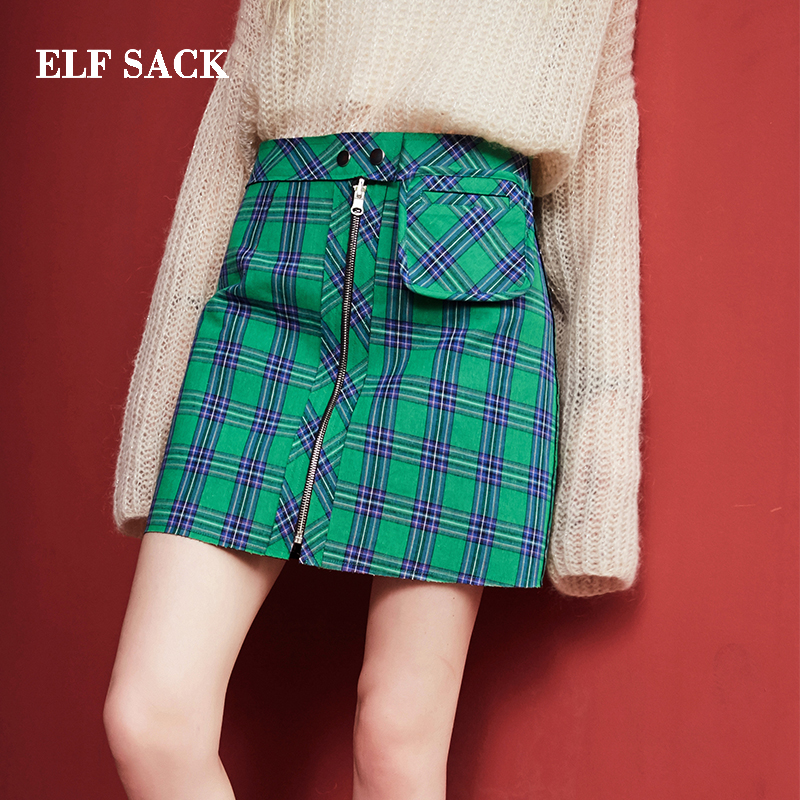 ELF SACK Casual Plaid Mini Pleated Vintage Mini Skirt E17002