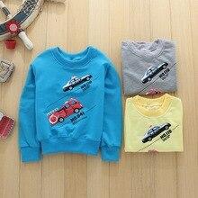 Baby boys clothing 2016 autumn winter new cotton Korean baby kids fashion small car children round neck thick sweater outwear