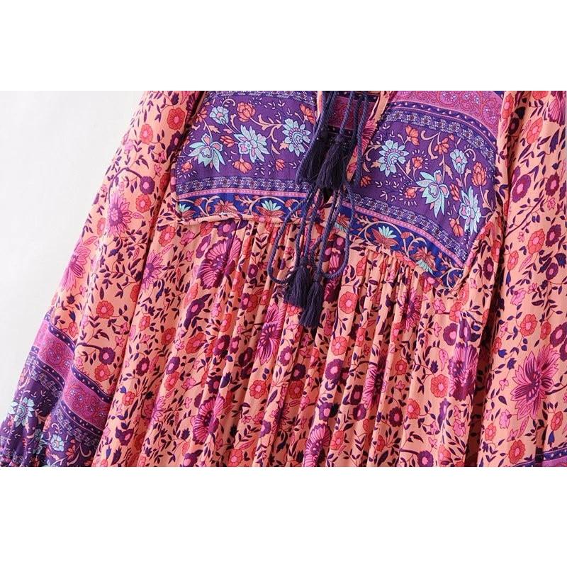 Pink Boho Dress Chic Floral Print Cotton Long Dess V-neck Long Sleeve Tassel Women Dresses Autumn Bohemia Femme Dresses