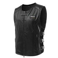 Scoyco JK46 Leather Safety Clothing Motorcycle Reflecting Racing Protective Vest Visbility Moto Security Motorbike Wear Black