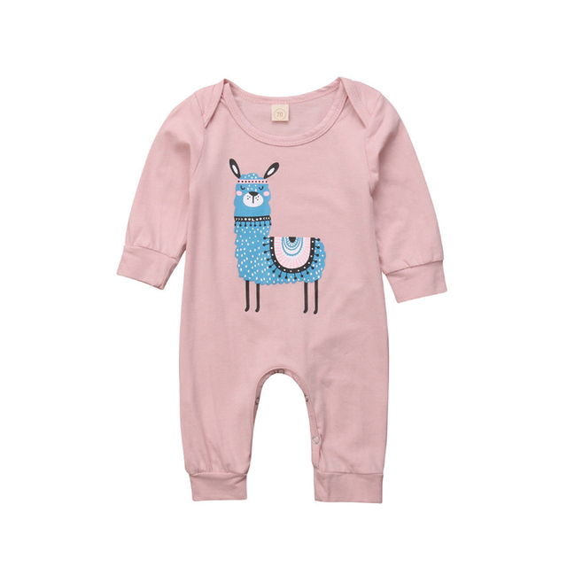 8d8e1b586b73 Cute Newborn Baby Girl Rompers Toddler Clothes Llama Print Long Sleeve  Rompers Jumpsuits Infant Baby Clothes Autumn Girls Romper