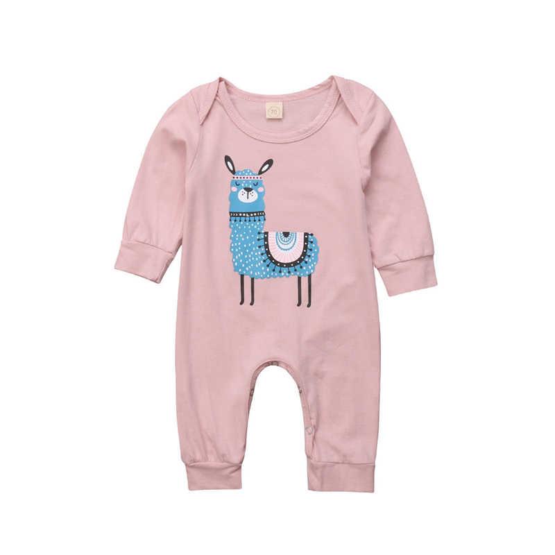 Monos lindos para bebés recién nacidos, ropa para niños, ropa de manga larga con estampado de Llama, monos para bebés, ropa de otoño para niñas