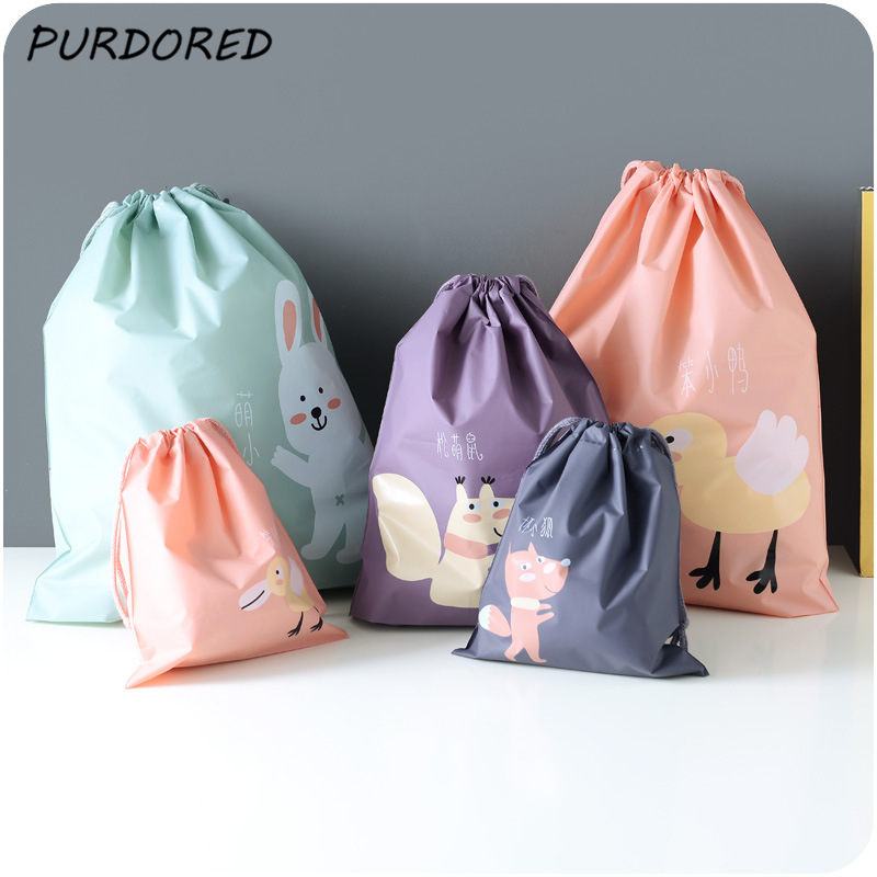 PURDORED 1 Pc Cartoon Drawstring Bag Portable Travel Storage Bag Waterproof Underwear Closet Clothing Bags Dropshipping