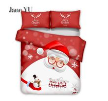 JaneYU 2019 New Desigin Christmas Santa Claus Gift 3d Bedding Three Sets 3 Pieces Duvet Covers