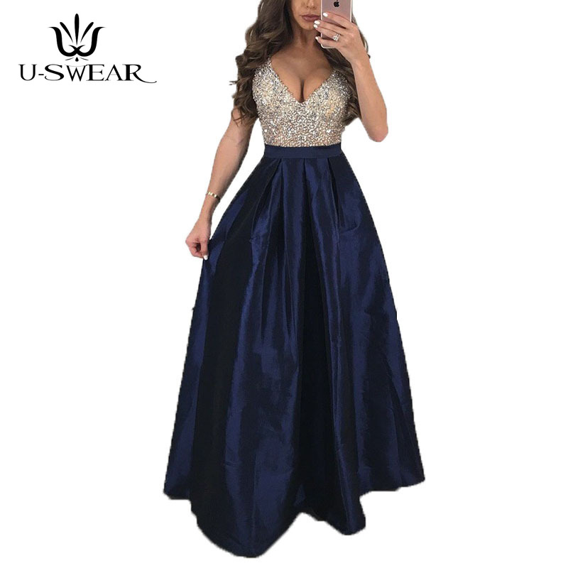 U-SWEAR New Sexy Deep V-Neck Sleeveless Backless Evening Party Prom Formal Gowns Long Sequin Dresses Vestidos Robe De Soiree