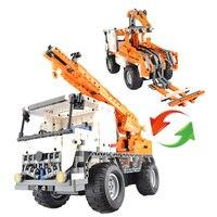 Дизайн серии СОВМЕСТИМЫ LegoINGLYS автомобиля инженерно дистанционного Управление блок крана Просветите DIY Технология игрушки 839 шт.