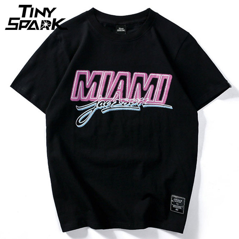 Men   T  -  Shirt   Cotton Hip Hop Miami   T     shirt   Pink letter Print Hiphop Tshirt Streetwear Black Fashion White Tops Tee 2018 New Summer