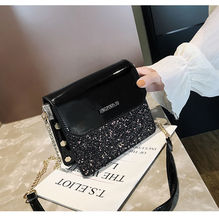 Ins Super Popular 2019 New korean style shoulder bag small square bag Chain messenger bag sequin flash Pu leather bags for women princess sweet lolita bag small square female satchel bag ins super fire real leather fashion wrapped shoulder bag ensso 116