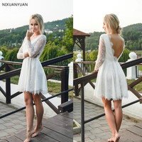Newest Short Wedding Dresses With Illusion Long Sleeves Full Lace V Neck Backless Summer Beach Bridal Gowns Informal Party Wear