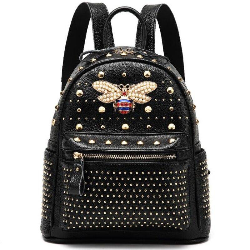 ANNRMYRS 2019 New Come Fashion Women Bag Diamond Bee Bags Pearl Rivet Travel Shoulder Bag PU Leather School Backpack Female Bag