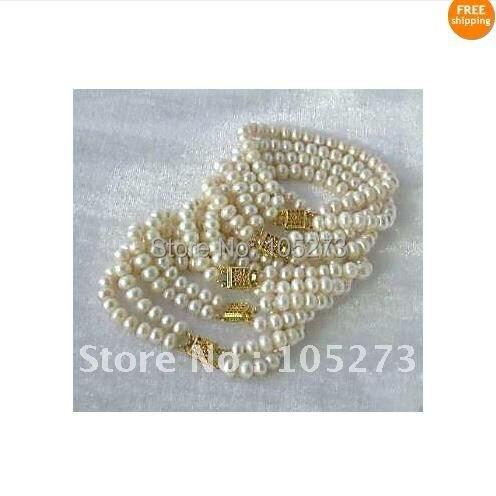 Потрясающе!, 5 штук в партии жемчужный браслет АА 7-8 мм белый цвет натуральный пресноводный жемчуг браслет 7,5 ''inchs NF214