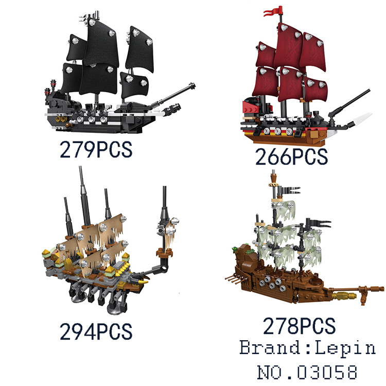 Lepin 03058 Pirates of the Caribbean Movie 4 In 1 Black Pearl Queen Anne's Reveage Slient Mary Ship Set Building Blocks Bricks black pearl building blocks kaizi ky87010 pirates of the caribbean ship self locking bricks assembling toys 1184pcs set gift