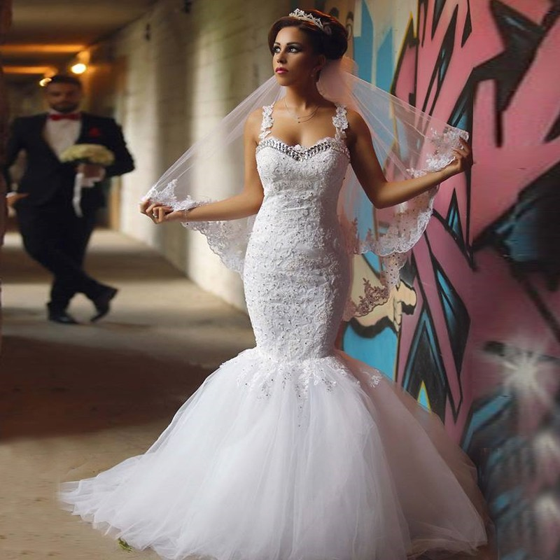 2017 New Mermaid Luxury Spaghetti Straps Wedding Dress