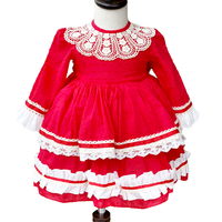 2019 New Autumn Red Lace Baby Girls tutu Dress Vintage Kids Dresses Children Christmas Clothing Kids 1 6 year Princess girl dres