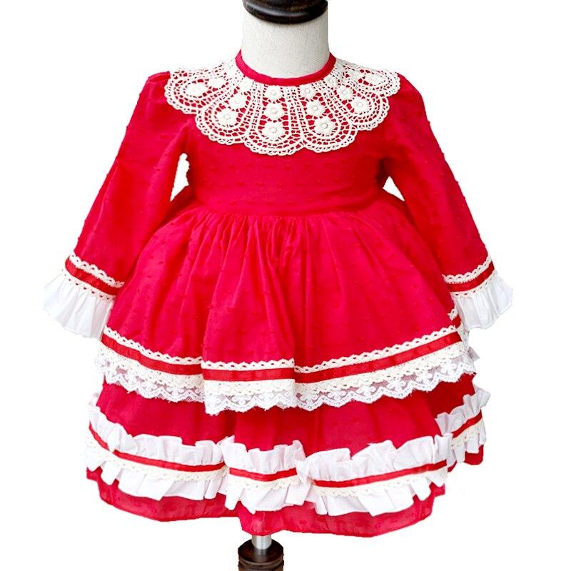 2019 nouveau automne rouge dentelle bébé filles tutu robe Vintage enfants robes enfants noël vêtements enfants 1-6 ans princesse fille dres