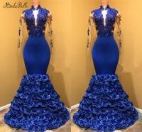 modabelle 3D Flowers Royal Blue Dress Avondjurken 2019 High Neck Mermaid Long Sleeve Dress Evening Robe De Soiree Longue