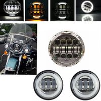 7 Inch Harley Daymaker LED Headlight 2x 4 5 30w White Halo Ring Fog Light Passing