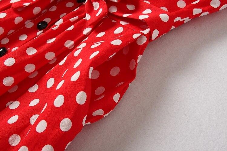 ALPHALMODA 18 New Polka Dot Shirt Pocket Dress Petal Sleeve Single Breasted Slim Sashes Women Fashion Summer Vestidos 11