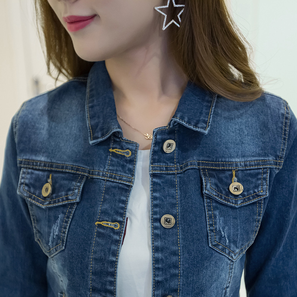 HTB1b6hTaUD1gK0jSZFGq6zd3FXag Women Short Jeans Jacket Slim Turn Down Collar Long Sleeve Button Denim Outwear New Chic Vintage