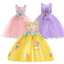 2019 Summer Appliques Kids Dresses for Girls Embroidery Girls Princess Dress Party Wedding Flower Girls Wedding Dress Vestido