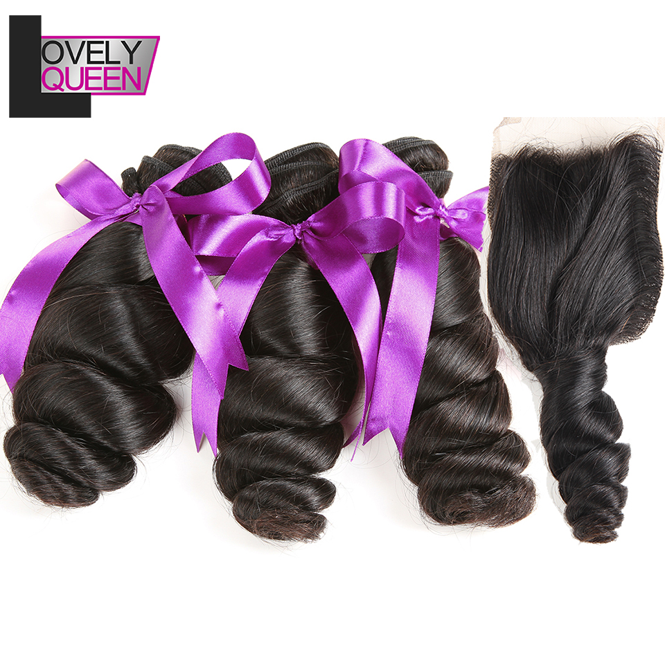 Lovely Queen Hair Brazilian Loose Wave Bundles With Closure 100% Human Hair Bundles With Closure Non Remy