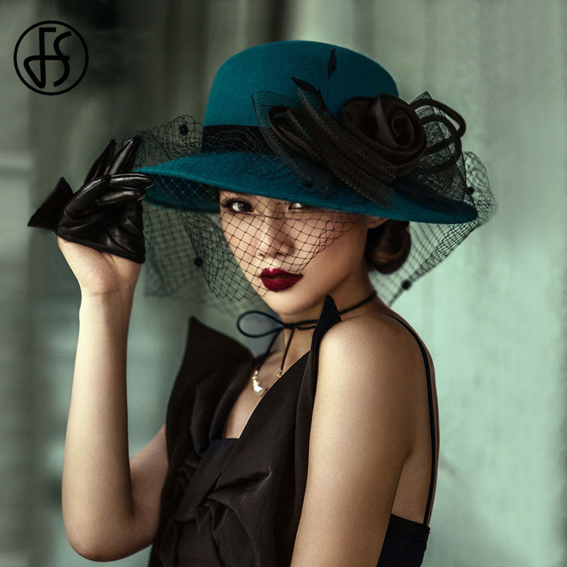 FS Vintage Wool Wide Brim Felt Hats Women Fascinators Bow Veil Fedoras Hat Big Flower Blue Black Bowler Cap Winter Cloche Hat